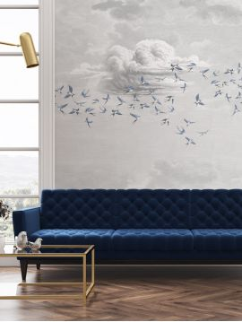 Toile Fresque Swallo Bleu fumée L240 x H280 cm