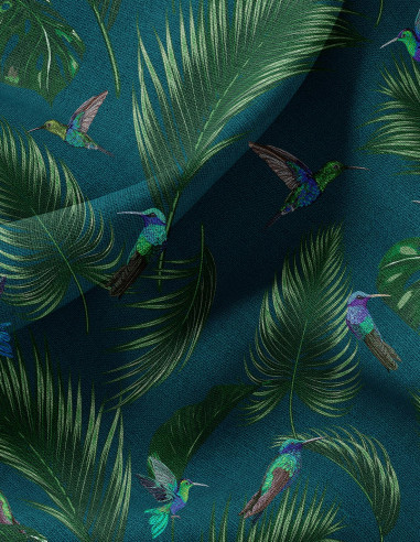 Jungle Bleu  - Tissu au mètre