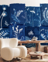 Wallpanel Cyanotype Fleurs des Champs