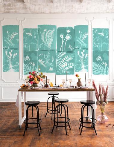 Fresque Cyanotype Fleurs des Champs