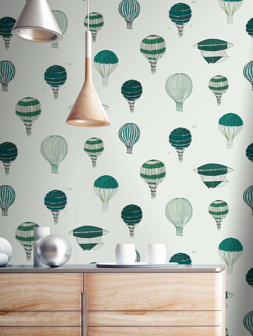 Papier peint montgolfi re papermint - Montgolfiere en papier ...