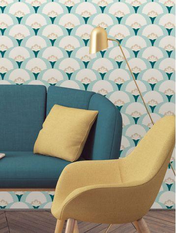papier peint palm papermint. Black Bedroom Furniture Sets. Home Design Ideas