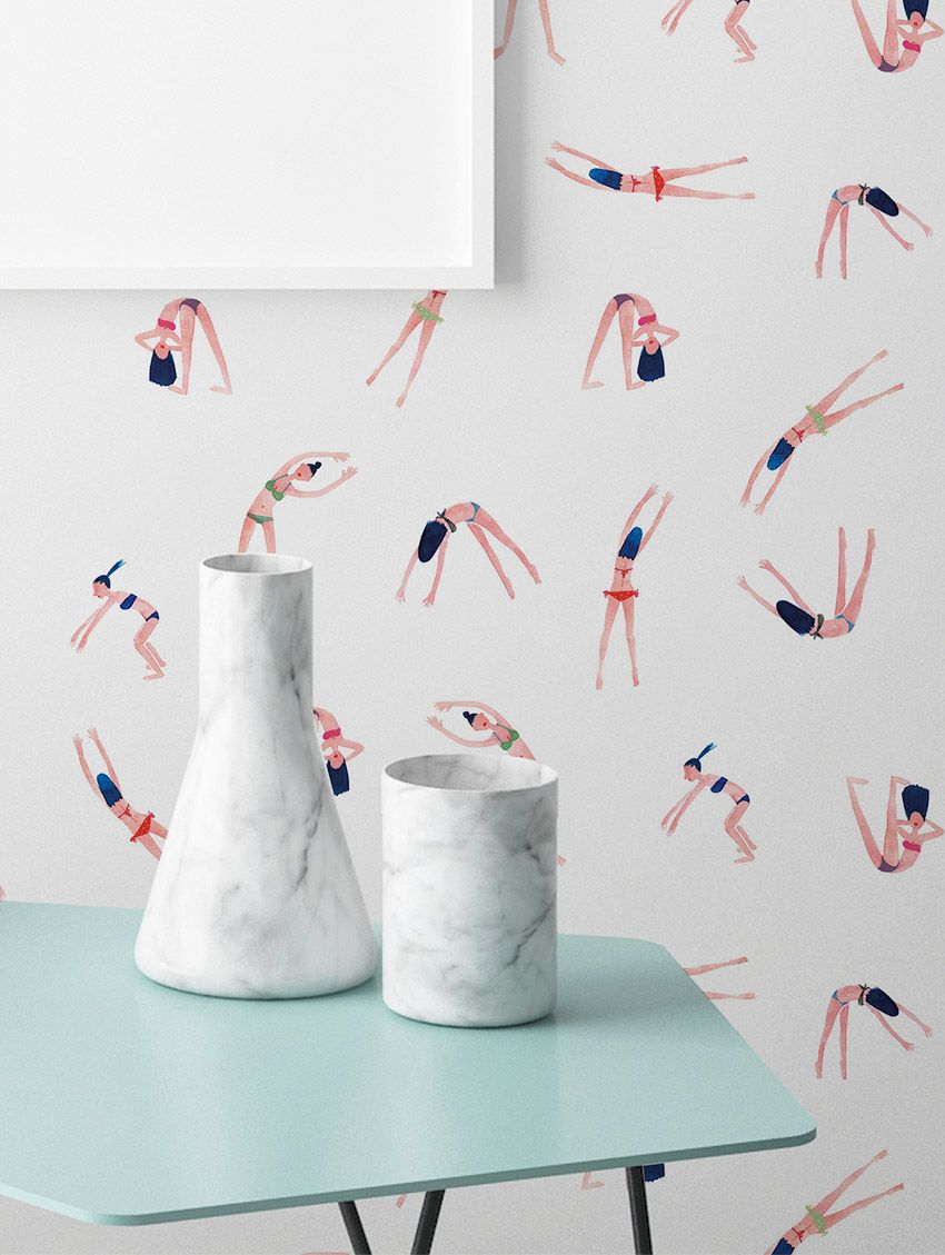 les nageuses wallpaper papermint. Black Bedroom Furniture Sets. Home Design Ideas