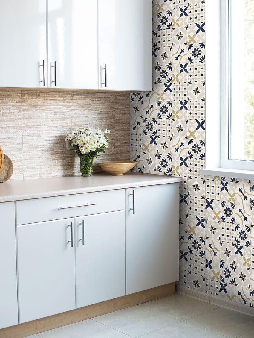 Papier peint carreaux ciments papermint for Papier peint lavable cuisine