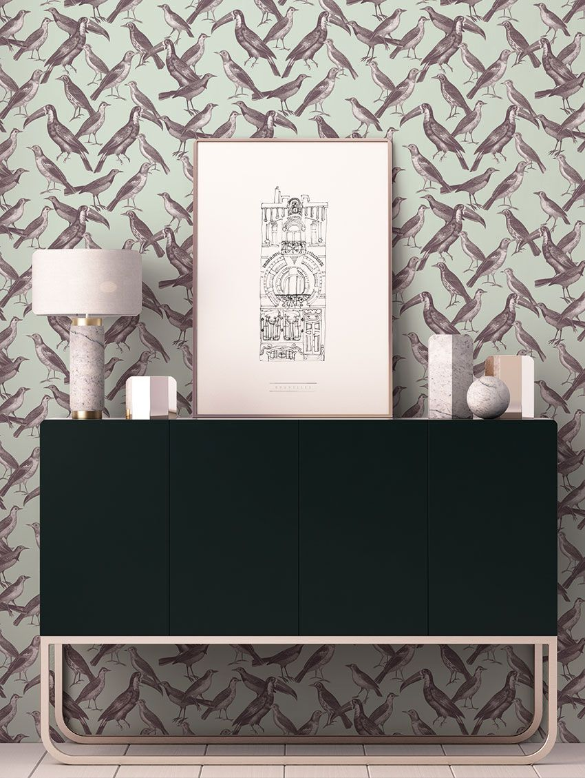 papier peint birdy papermint. Black Bedroom Furniture Sets. Home Design Ideas