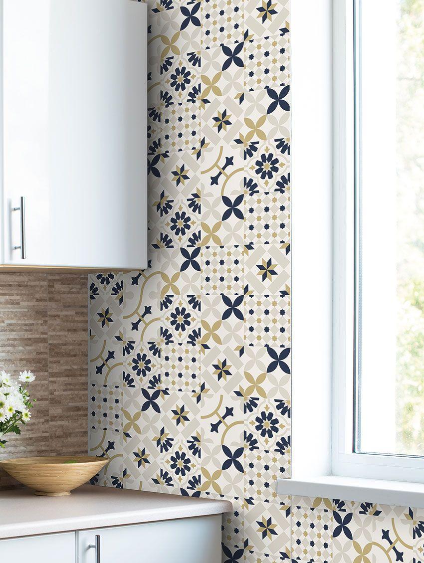 papier peint carreaux ciment papermint. Black Bedroom Furniture Sets. Home Design Ideas