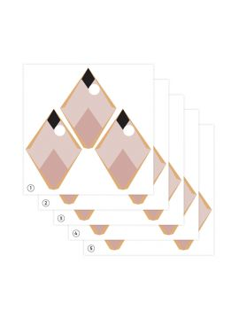 Arlequin - Set de 5 planches - Rose