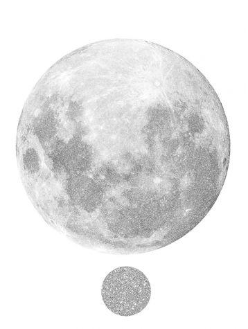 Décor Lune tissu argenté adhésif • Edition de Noël