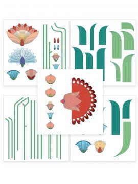 Jardin Exotique - Set de 5 planches